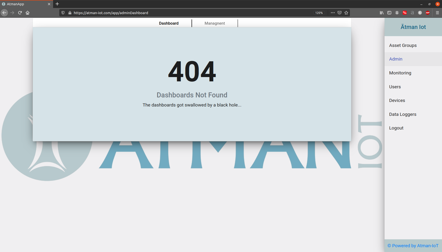 "alt ""Atman IoT - First loged on page"""