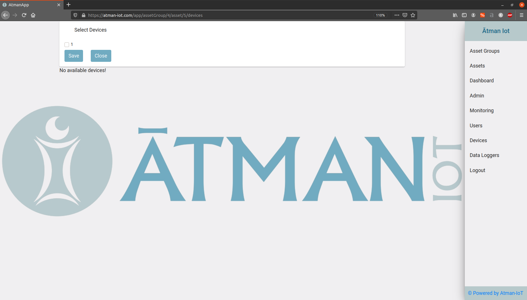 "alt ""Atman IoT – Add devices to asset, select devices"
